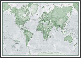 Large The World Is Art - Wall Map Green (Wood Frame - Black)
