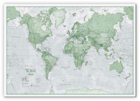 Medium The World Is Art - Wall Map Green (Canvas)