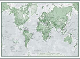 Large The World Is Art - Wall Map Green (Hanging bars)