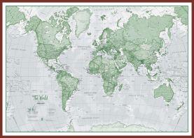 Huge The World Is Art - Wall Map Green (Pinboard & framed - Dark Oak)