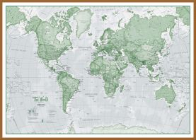 Large The World Is Art - Wall Map Green (Wood Frame - Teak)