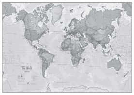 Huge The World Is Art - Wall Map Grey (Paper)