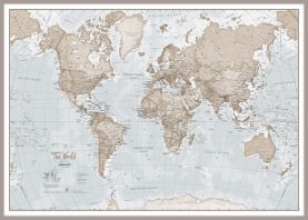 Huge The World Is Art - Wall Map Neutral (Pinboard & framed - Silver)