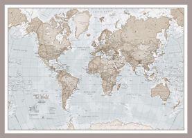 Medium The World Is Art - Wall Map Neutral (Pinboard & framed - Silver)
