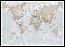 Huge The World Is Art - Wall Map Neutral (Pinboard & framed - Black)