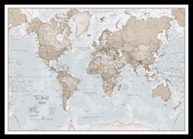 Small The World Is Art - Wall Map Neutral (Pinboard & framed - Black)