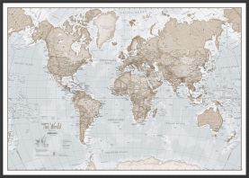 Large The World Is Art - Wall Map Neutral (Wood Frame - Black)