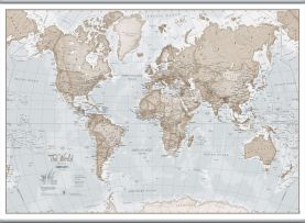 Large The World Is Art - Wall Map Neutral (Hanging bars)