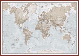 Huge The World Is Art - Wall Map Neutral (Pinboard & framed - Dark Oak)