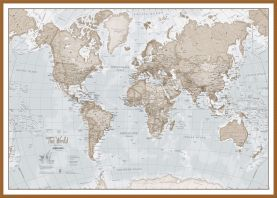 Large The World Is Art - Wall Map Neutral (Wood Frame - Teak)