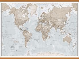 Huge The World Is Art - Wall Map Neutral (Wooden hanging bars)