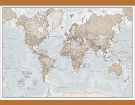 Medium The World Is Art - Wall Map Neutral (Wooden hanging bars)