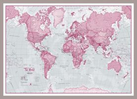 Small The World Is Art - Wall Map Pink (Pinboard & framed - Silver)