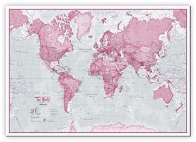 Medium The World Is Art - Wall Map Pink (Canvas)