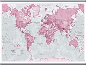 Small The World Is Art - Wall Map Pink (Hanging bars)