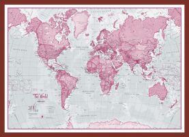 Small The World Is Art - Wall Map Pink (Pinboard & framed - Dark Oak)