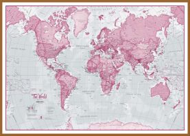 Large The World Is Art - Wall Map Pink (Wood Frame - Teak)
