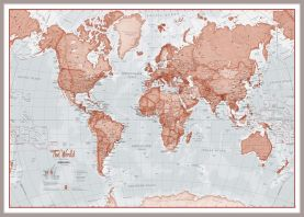 Huge The World Is Art - Wall Map Red (Pinboard & framed - Silver)