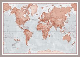 Small The World Is Art - Wall Map Red (Pinboard & framed - Silver)