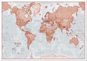 Huge The World Is Art - Wall Map Red (Pinboard)