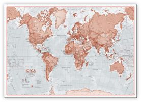 Medium The World Is Art - Wall Map Red (Canvas)