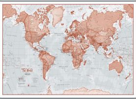 Large The World Is Art - Wall Map Red (Hanging bars)