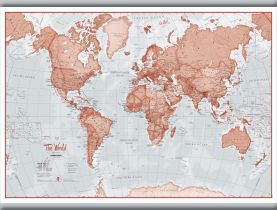 Medium The World Is Art - Wall Map Red (Hanging bars)