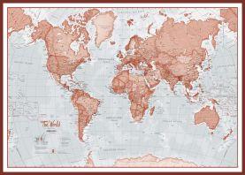 Huge The World Is Art - Wall Map Red (Pinboard & framed - Dark Oak)