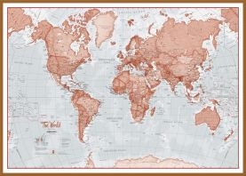 Large The World Is Art - Wall Map Red (Wood Frame - Teak)