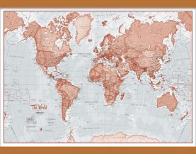 Medium The World Is Art - Wall Map Red (Wooden hanging bars)