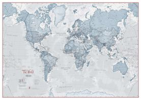 Large The World Is Art - Wall Map Teal (Paper)