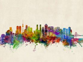 Tokyo Japan Watercolour Skyline