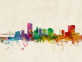 Toledo Ohio Watercolour Skyline