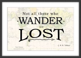 Travel Quote Map Print 'Not all those who wander...' (Wood Frame - Black)