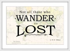Travel Quote Map Print 'Not all those who wander...' (Wood Frame - White)