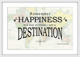 Travel Quote Map Print 'Remember happiness is a way of travel...' (Wood Frame - White)