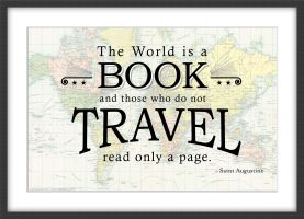 Travel Quote Map Print 'The World is a Book...' (Wood Frame - Black)