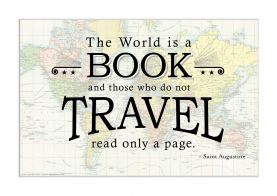 Travel Quote Map Print 'The World is a Book...' (Matt Art Paper)