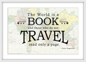 Travel Quote Map Print 'The World is a Book...' (Wood Frame - White)