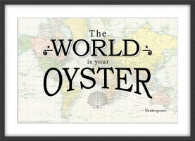 Travel Quote Map Print 'The World is your oyster...' (Wood Frame - Black)
