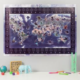 Mythical Monster Glow in the Dark World Map (Silk Art Paper - Pack of 2)