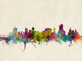 Tulsa Oklahoma Watercolour Skyline