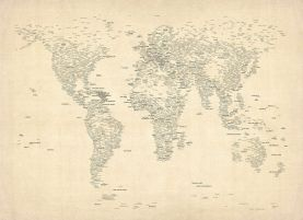 Typography World Map of Cities