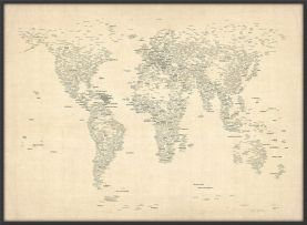 Large Typography World Map of Cities (Wood Frame - Black)