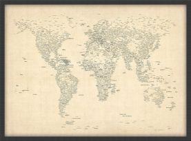 Medium Typography World Map of Cities (Wood Frame - Black)