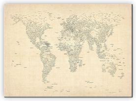 Medium Typography World Map of Cities (Canvas)