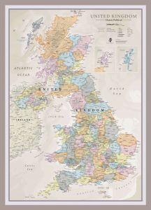 Medium UK Classic Wall Map (Pinboard & framed - Silver)