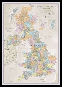 Medium UK Classic Wall Map (Pinboard & framed - Black)