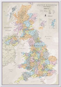 Huge UK Classic Wall Map (Pinboard)
