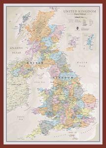Medium UK Classic Wall Map (Pinboard & framed - Dark Oak)